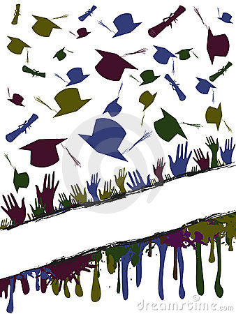 Grunge background of graduates tossing