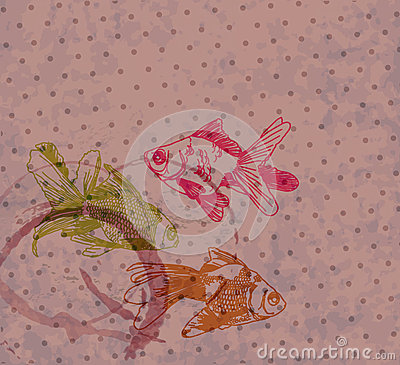 Grunge background with Hand drawing gold fishes