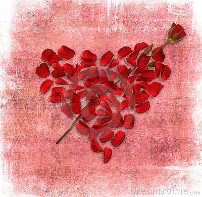 Grunge background with heart made of rose petals