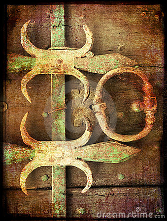 Grunge background with metal elements