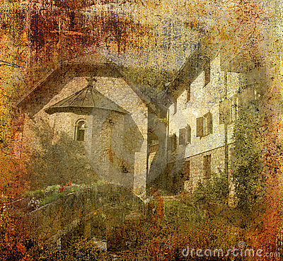 Grunge background photo of orthodox monastery