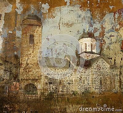 Grunge background photo of orthodox monastery
