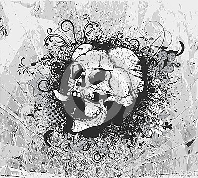 Grunge background with skull