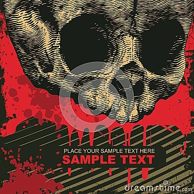 Grunge background with skull