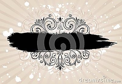Grunge banner background. Vintage patterned border