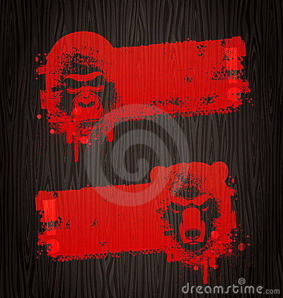 Grunge banners with animal heads