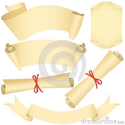 Grunge banners, scrolls, diploma set