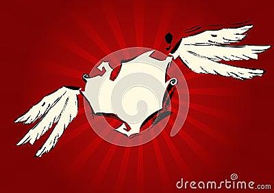 Grunge beige heart on red background