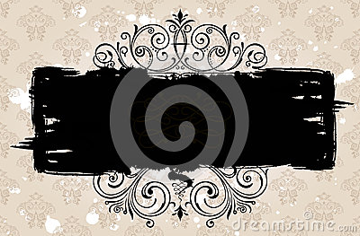 Grunge black banner background. Vintage patterned
