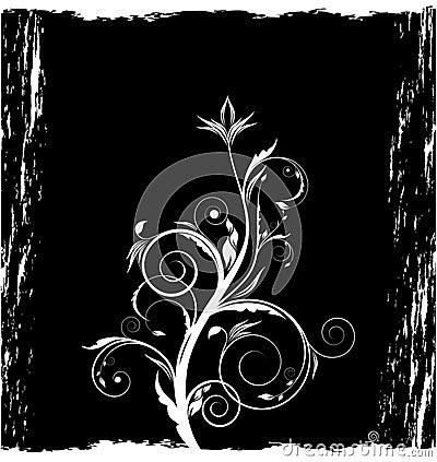 Grunge black floral background