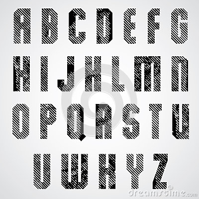 Grunge black rubbed capital letters, decorative striped font on
