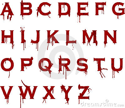 Grunge blood alphabet