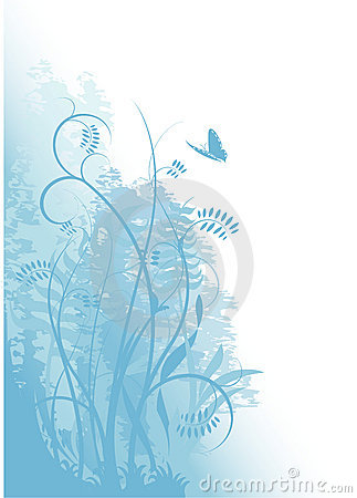 Grunge blue background with plants and a butterfly