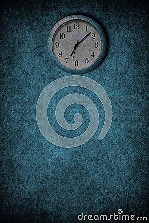 Grunge blue clock