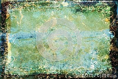 Grunge blue-green background with swirl border