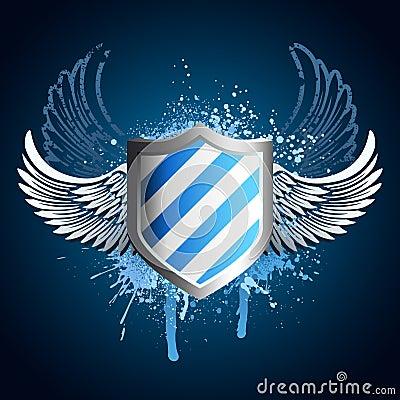 Free Grunge Blue Shield Emblem Stock Image - 8012581