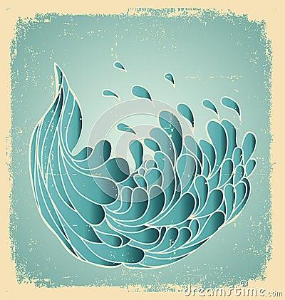Grunge blue wave.