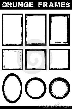 Grunge border frames set