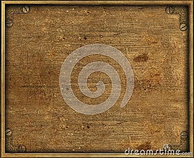 Grunge brass background plate