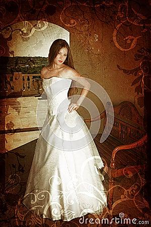 Grunge brunette bride