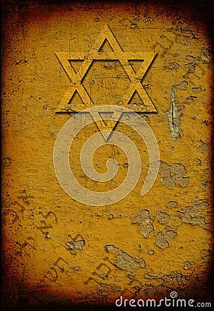 Grunge burned jewish background with david star
