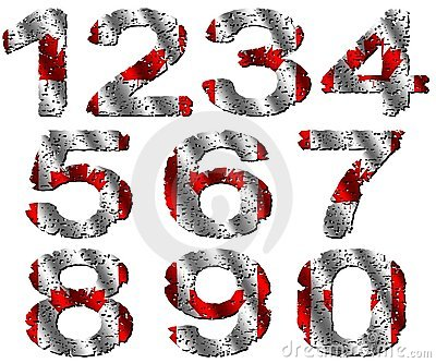 Grunge Canadian flag numbers