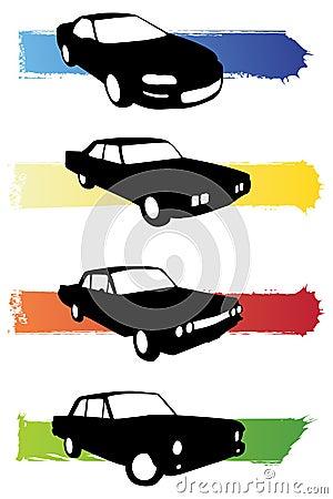 Grunge car silhouettes