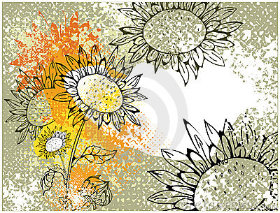 Grunge card with sunflowers