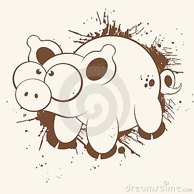 Grunge Cartoon Pig