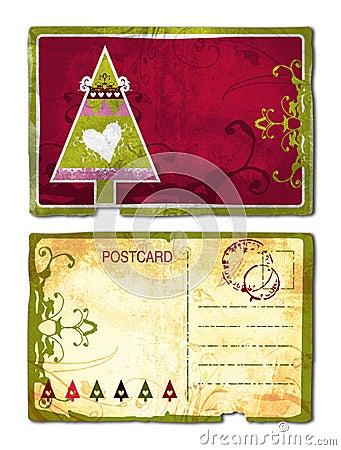 Grunge Christmas postcard