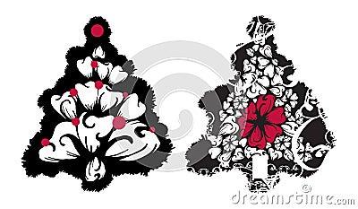 Grunge Christmas Trees vector