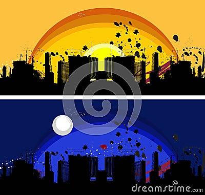 Grunge city scape
