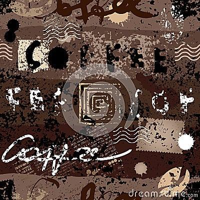 Grunge coffee pattern