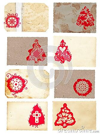 Grunge collage set of Christmas tree retro style c