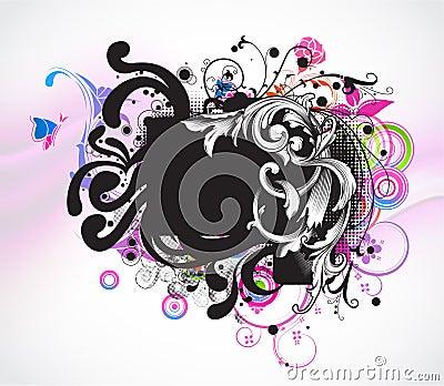 Grunge colorful floral frame