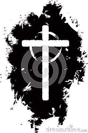 Grunge cross background