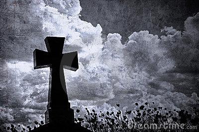 Grunge cross in the cemetery, halloween background