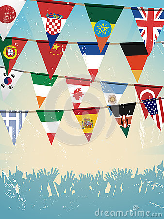 Grunge crowd and world bunting flags