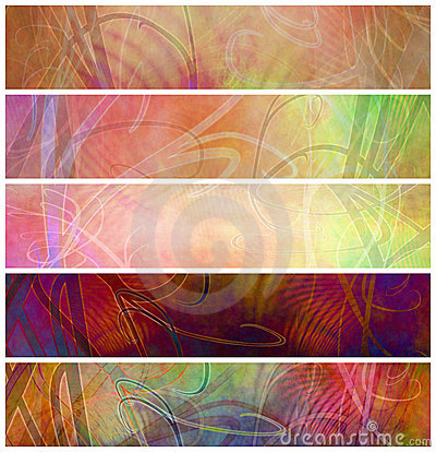 Grunge Decorative Retro Psychedelic Headers