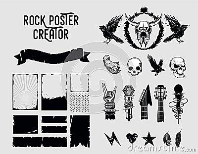 Grunge design elements. Sign and frame set for music posters. Vector Illustration