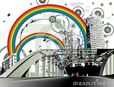 Grunge distressed rainbow city