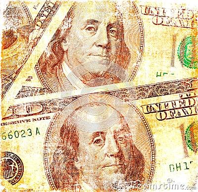Grunge dollars background