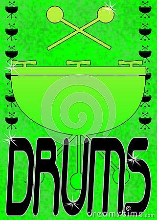 Grunge drums poster or frame