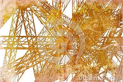 Grunge Eiffel Tower detail