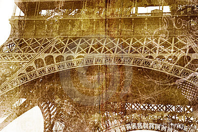 Grunge Eiffel Tower detail
