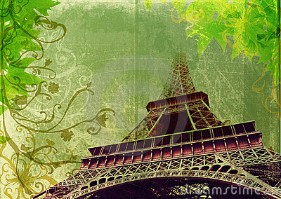 Grunge Eiffel Tower in sepia