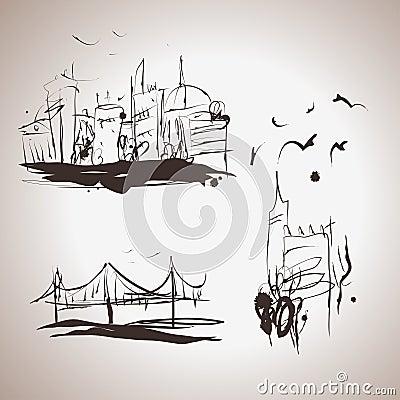 Grunge elegance ink splash elements of city