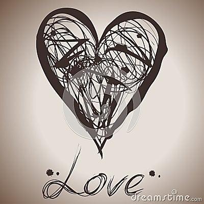 Grunge elegance ink splash illustration of heart