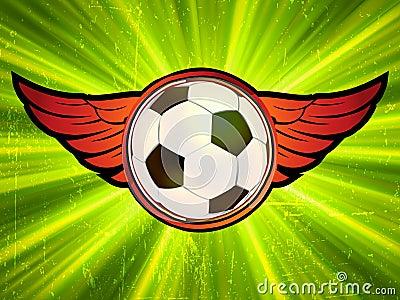 Grunge emblem, winged soccer ball. EPS 8