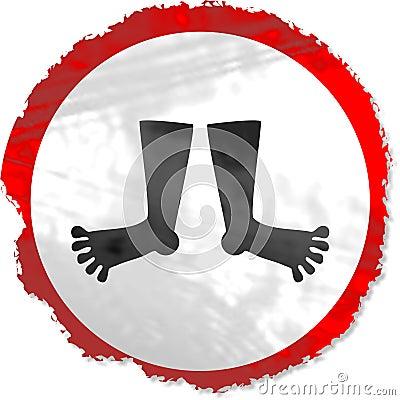 Grunge feet sign
